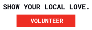 Show your local love red volunteer logo