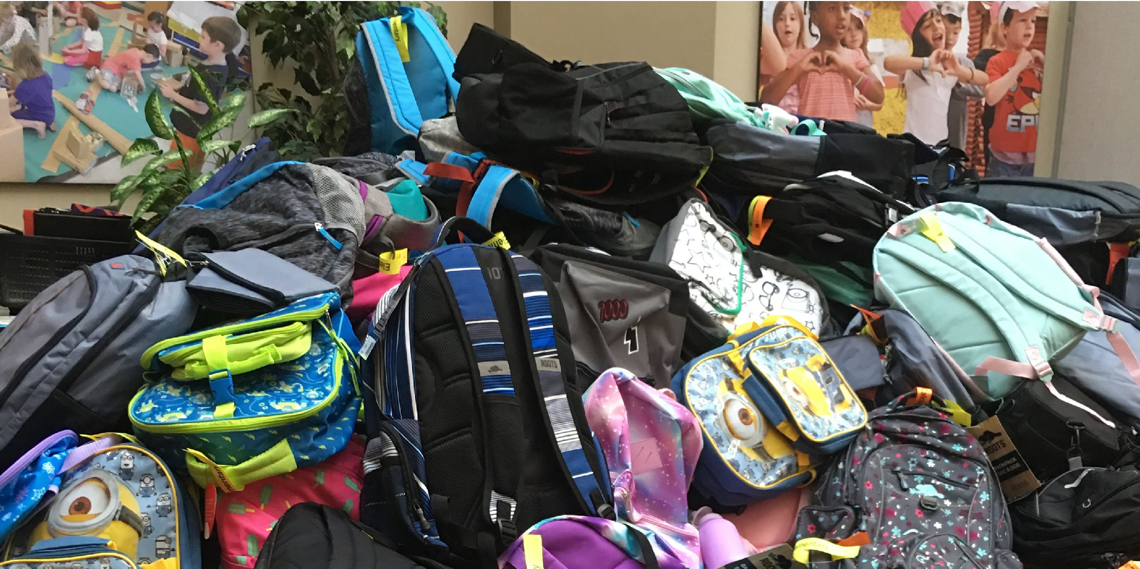 Best First Day mountain of backpacks at TVDSB