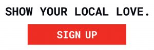 Show your local love red sign up logo