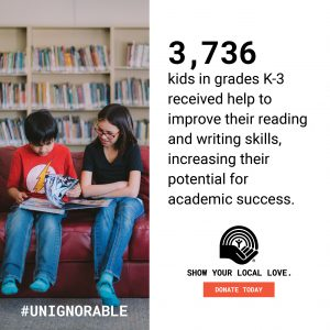 PROOF POINT - 3,726 kids in grades K-3 received help to improve their reading and writing skills, increasing their potential for academic success.
