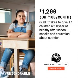 PROOF POINT- $1,200 is all it takes to give 17 children a full year of healthy after school snacks and education about nutrition.