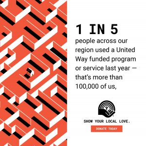 STAT- 1 in 5 people across our region used a United Way funded program or service last year - that's more than 100,000 of us.