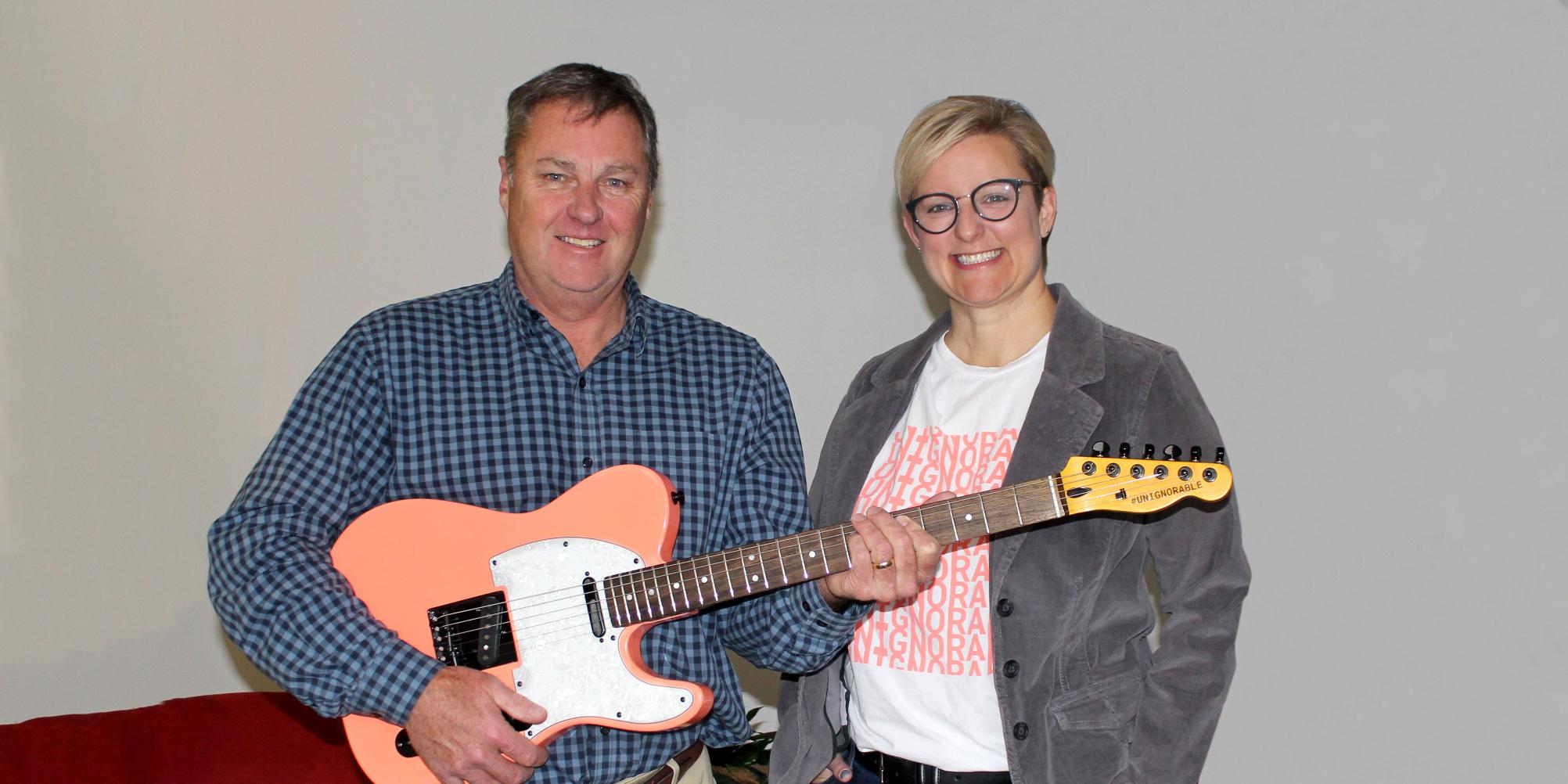 John Brett, #UNIGNORABLE guitar bidder and Kelly Ziegner, CEO