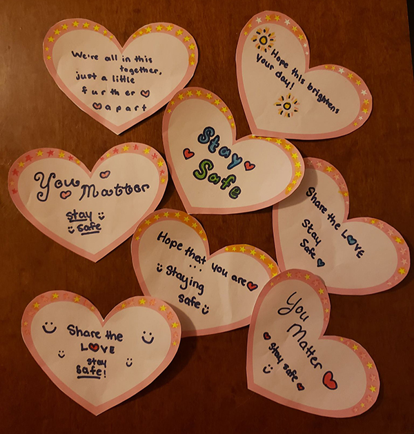 Heart notes for food boxes for families project