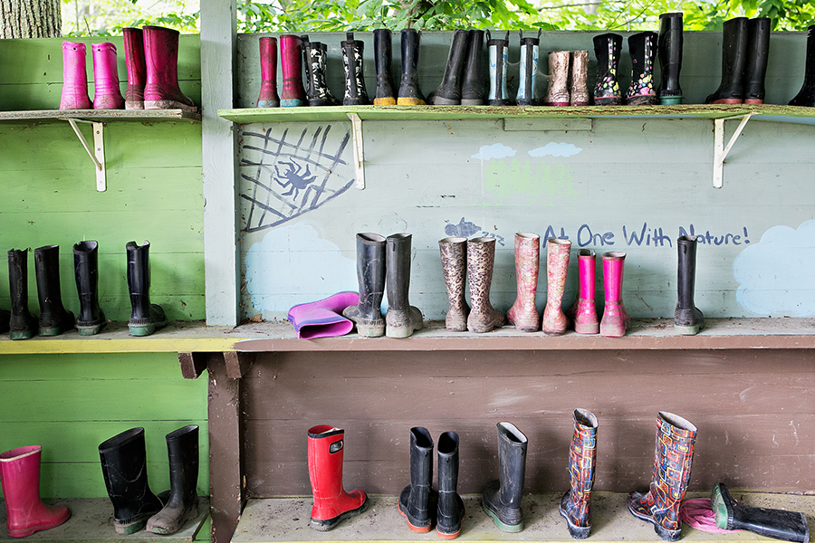 Camp shelves stocked with boots