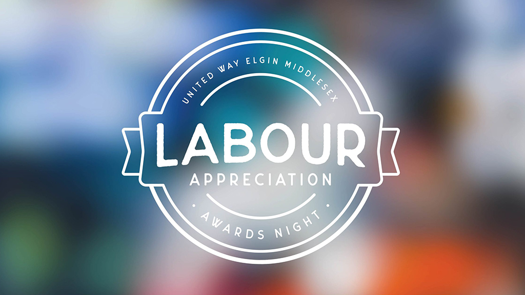 Labour Appreciation Awards Night event brand with blurred image in background