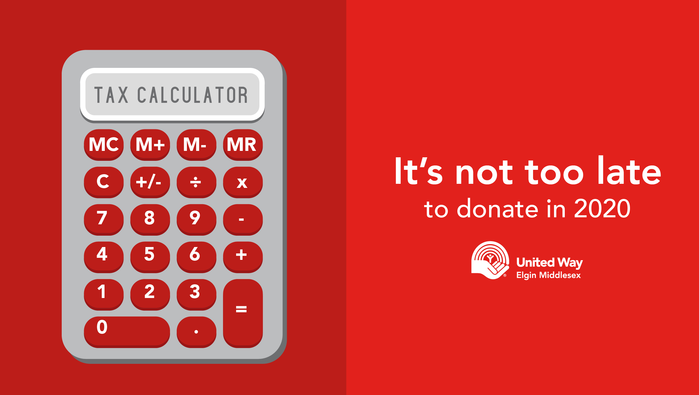 United Way tax calculator, It's not too late to donate in 2020